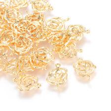 20pcs Brass Filigree Flower Charm Connectors 1/1 Loop Bumpy Gold Plated 15.5mm