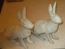 Antique Cast Iron Rabbit Doorstops