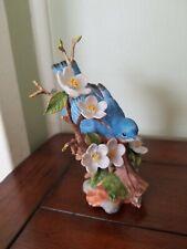 Songbird Maruri Usa porcelain bird figurine, Bluebird Apple blossoms