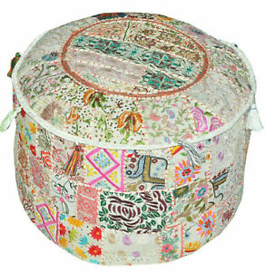 Indian Pouffe Floor Ottoman Pouffe Cotton Patchwork Embroidered Decor Seating
