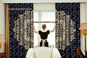 Blue Gold Ombre Mandala Indian Curtains Wall Tapestry Window Curtain Valance 2PC