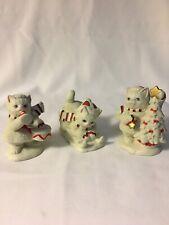 1992 Lefton Ceramic Kitty Snowflake Sledding Musical Tree Cat Kitten Figurines