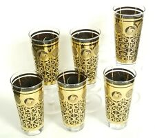 6x 60's PRUDENTIAL INSURANCE LIBBEY BLACK GOLD ICED TEA TUMBLERS GLASSES ~6.5""