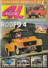 4L MAGAZINE 14 RENAULT RODEO 4 R4L 1962 R4 EXPORT 1967 RENAULT 4 GTL 1992