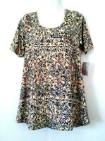 NEW WOMEN'S LULAROE PERFECT T MULTICOLOR ABSTRACT FLORAL TUNIC TOP SIZE S BNWT