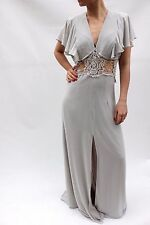 Jarlo Tall Grey Fluted Lace Evening Wedding Maxi Party Dress 14 42 US 10 £85 New