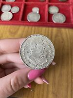 MONETA MESSICO 1 PESO 1965 16 GRAMMI ARGENTO 100 AA