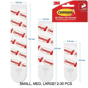 3M Command Picture Hanging Refill Strips For Hooks MEDIUM & LARGE (2-30pc)