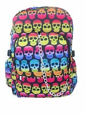 Calavera Multi Color Mochila Morral Escuela Bolso De Universidad Gótico Emo Rock Punk
