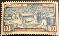 RARE 1928 FRENCH COLONIES GUADELOUPE 10 CENT DEEP BLUE STAMP MH VERY NICE!