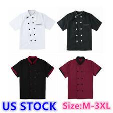 Us Unisex Short Sleeve Chef Coat Jacket Uniforms Hotel Restaurant Waiter Costume