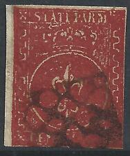 ITALIA-STATI Parma: 1854 25 C Marrone-rosso usato in perfetta condizione - 99995