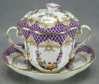 Dresden Hand Painted Floral Swags Purple & Gold Covered Chocolate Cup & Saucer