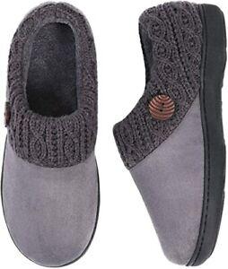 Womens Suede Memory Foam Slippers Woolen Yarn Knit Collar Retro Shoes Size 5 6 7