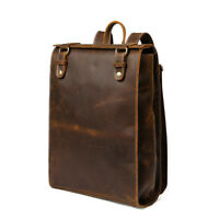 Mens Genuine Cowhide Leather Backpack Travel School Bag Satchel Handbag Rucksack
