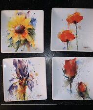 Dean Crouser Floral Watercolor Ceramic Stoneware Decorative Snack Plate Set
