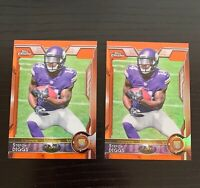 Lot of 2 2015 Topps Chrome Stefon Diggs Orange Refractor Rookie Cards #148