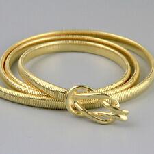Vintage 80s Gold Knot Metal Skinny Snake Belt Stretch 82 - 101cm L - Xl Disco
