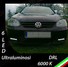 COPPIA LUCI DIURNE DRL 6 LED BIANCHI DAYLIGHT PER  VW GOLF 5 V ALTA LUMINOSITA'