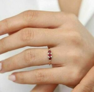 Women's Daily Wear 1ct Round Shape Ruby & Diamond 925 Sterling Silver Ring