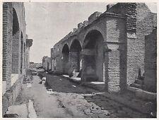 D2085 Ostia antica - Strada con botteghe - Stampa d'epoca - 1923 vintage print