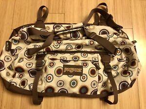 Jansport Large Duffle Bag Shoulder Strap Pattern, Brown Tan Zipper