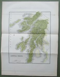 1882 Map of Argyllshire Antique  Map Isle of Mull Islay Tiree Coll Tobermory