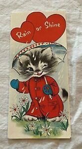Sweet Used Vintage Buzza Cardozo Valentine Greeting Card  Kitten w Umbrella