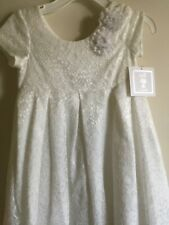 NWT Bella by Marmeletta White Beach Portrait Lace Satin Party Dress Size 5 6