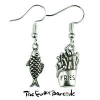 TFB - FISH & CHIPS DANGLE EARRINGS Funky Takeway Quirky Novelty Kitsch Gift Fun