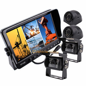 "Reversing Camera Kit,IP 68 Waterproof Reverse Camera 7"" Quad TFT-LCD Car Monitor"