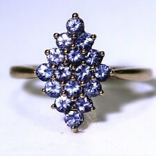 Pretty Tanzanite Marquise Cluster 9ct Yellow Gold ring P 1/2 ~ 8