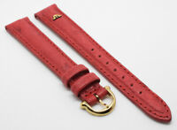 Premium New Maurice Lacroix Real Ostrich Red Leather Strap + Gold Buckle 15mm