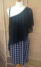 JOSEPH RIBKOFF Black Dress White Circles Chiffon Overlay CRUISE OCCASION UK 10