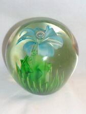 Vtg Floral Art Glass Blue Flower Lily Green Grass Blades Sculpture Paperweight