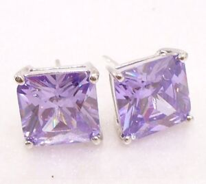 Square Stud Earrings Simulated Diamond White Gold Plated Pink Bronze Amethyst UK