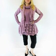 NEW Jessica Taylor Plus Purple Lace Overlay Sheer Scarf Tunic Blouse 1X