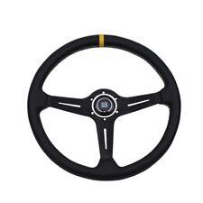 Volante de Deportivo 380mm 15 Pulgadas Cuero Negro Blanco habló línea amarilla stitchin
