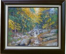 Sean Wu Autumn Woods Trees Stream Landscape 20x16 Original Oil Painting Framed