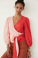 Farm Rio NWT Anthropologie Colorblocked Wrap Blouse Top Pink Size XS Retail $128