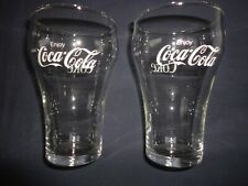 """Lot Enjoy Coca Cola Coke Clear Smooth Bell Glass 12 oz BOLD White Letters 6/"""" 5"""