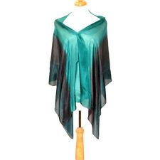"Women's 100% Satin Silk Scarf / Blue / Stripe / 70"" X 22"""