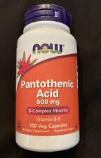 Now Foods Pantothenic Acid 500 mg 100 Capsules 10/2022 Vegan B-Complex