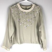 Faith by Celia Forrester sequin crew boho blouse long sleeve crew beige size L