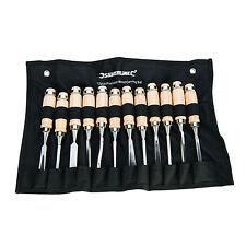 12tlg Stechbeitel Schnitzmesser Set mit Etui Stech- und Hohlbeitel