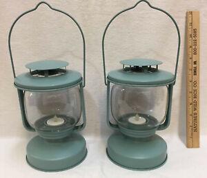 Lanterns Candle Holders Aqua Blue IKEA Glass Metal Tea Lights Battery Op Pair