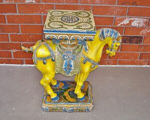 Interior Decorator's Piece - Old Vintage Oriental Asian Horse Accent Table