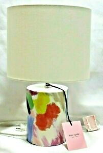 Kate Spade Floral Watercolor Abstract Cylinder Ceramic Table Lamp with Shade New