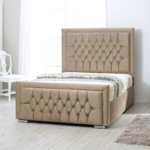 Chesterfield Upholstered Ottoman Storage Bed Frame Base with Headboard Footboard