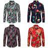 Men's Art Print Long Sleeve Leisure Beach Party Blouse Hawaiian Style Shirt Tops